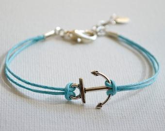 Sailor's anchor bracelet, custom sized for you - pale ocean blue, or navy blue