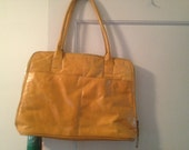 Vintage Mustard Yellow Briefcase Style Purse