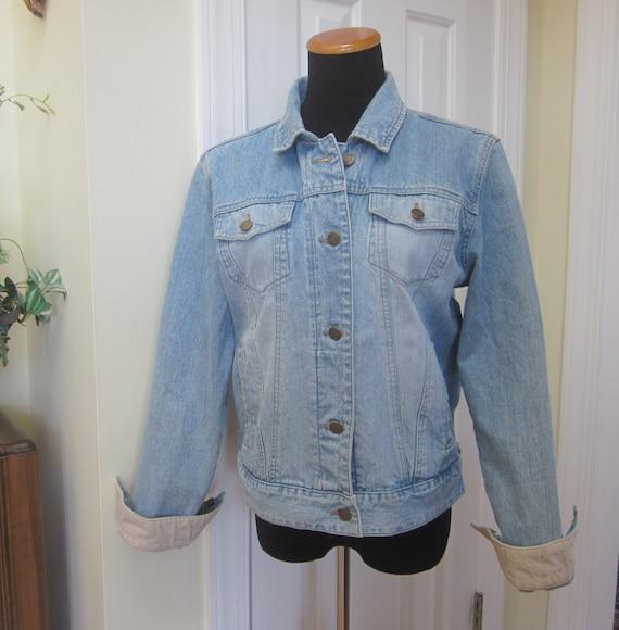 Vintage Bass Denim Jacket Hipster Jean Jacket by GroovyGirlGarb