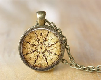 Vintage Compass Pendant Necklace Art Jewelry  Print Photo Pendant  Necklace Gift For Her (021)