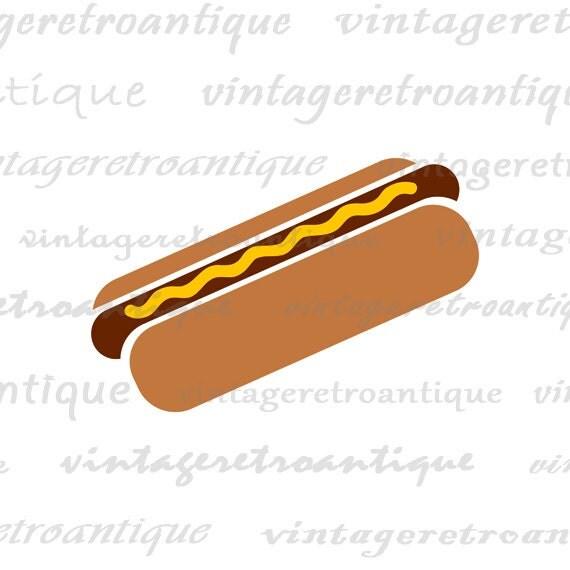 Digital Printable Hot Dog Illustration