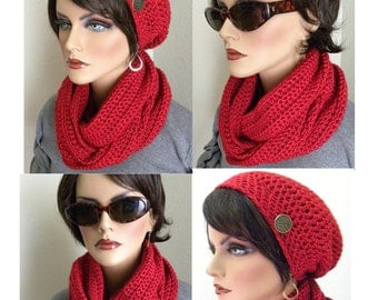 Infinity Scarf and Slouchy beanie Hat Set Beautiful Crimson Red Heather Hand Crocheted Soft Silky Warm Womens Fashion Accessories