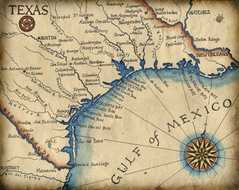 "Texas Coast Map Art c.1847  @ 11"" x 14"" - Texas Coast - South Padre Island - Galveston - Houston - Texas Art - Gulf of Mexico - Old Map Art"