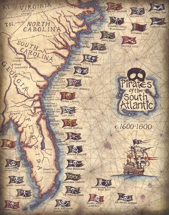 Pirates Of The South Atlantic States Art Print X Hand - Map of the us southern atlantic states