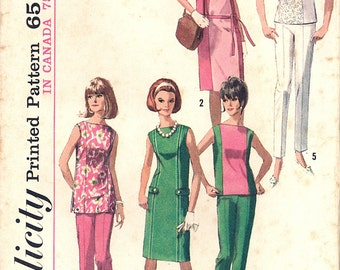 1965 Vintage Simplicity Pattern 6015, Size 14, Misses' One-Piece Dress, Tunic or Top and Slacks