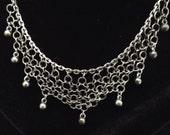 faux silver, dangle necklace