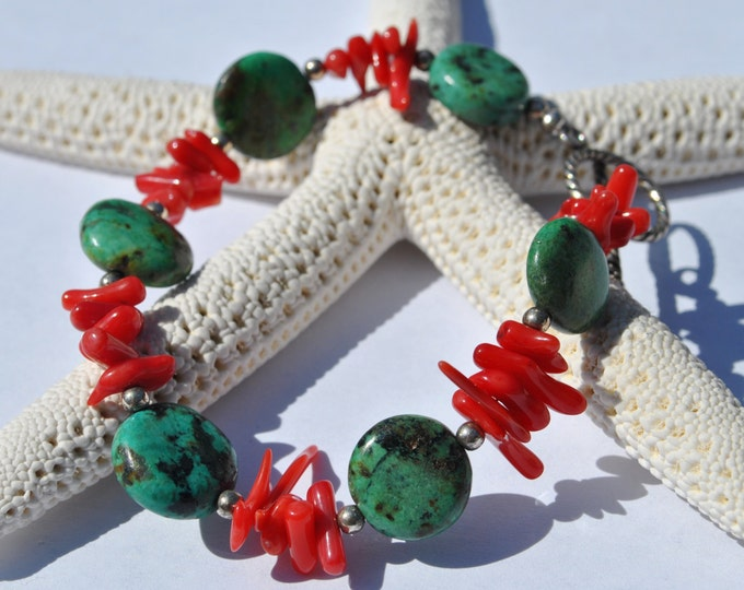 Green Chinese turquoise and red stick coral bracelet with sterling silver beads and clasp