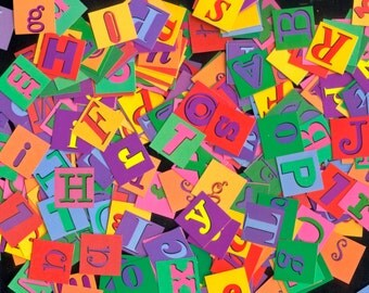 Alphabet Letter Squares - Double Sided Letters - Collage, Journals, Scrapbooking, Crafts