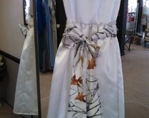 Adorable flower girl dress white with white camouflage sash