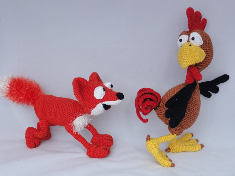Amigurumi Crochet Pattern Set Poultry Paul and Max the Fox