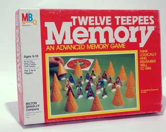 Twelve Teepees Memory Game from Milton Bradley 1984 COMPLETE (read description)