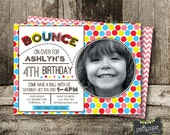 bounce and have a ball birthday invitation with photo