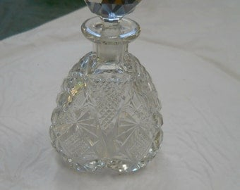 Vintage crystal heart shaped  perfume bottle