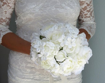 Wedding Accessory Bridal Bouquet Ivory Bridal Flowes Crystals