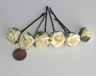 Set of 6 Flower Hair Pins Wedding Hair Bobby Pins  Wedding Accessory Bridal Flower Bobby Pins