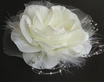 Ivory Bridal Flower Hair Clip Wedding Accessory  Crystals Feathers Bridal Fascinator Bridal Accessory
