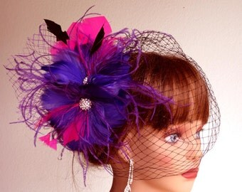 Purple Hot Pink Wedding Hair Feather Clip Wedding Accessory Bridal Hair Clip Wedding Hair Clip Vail