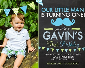 Mustache Invitation - Little Man Birthday Invitation - First Birthday Invitation - Mustache Printable - Boy Birthday