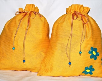Travel lingerie bags - yellow with felt flowers