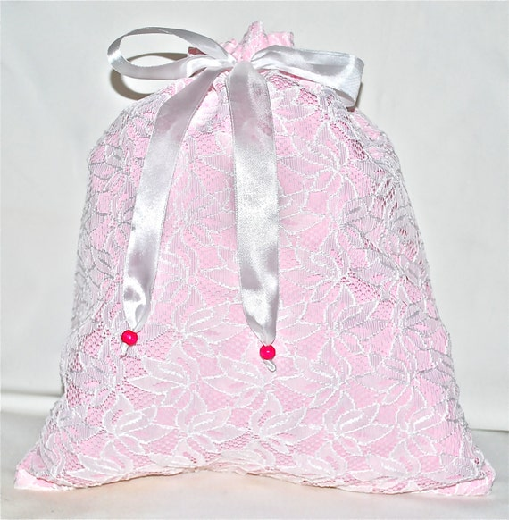 Lace lingerie bags - different colours (salmon, orange, pink and purple)