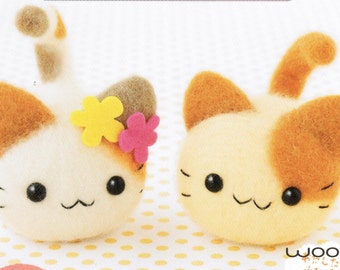Twin Kittens Needle Felting Kit (with flowers)