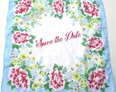 Vintage Printed Floral Hankie with Large Blank Area in Center for Wedding Save the Date