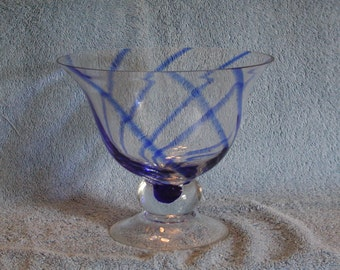 Glass Bowl with Cobalt Blue Stripes