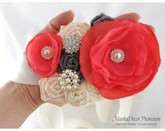 Bridal Sash, Coral Ivory Sash, Wedding Bridesmaids Belt, Ivory, Coral, Nude Sash, Brooch Sash, Beaded Jeweled Sash, Pearl Crystal Sash
