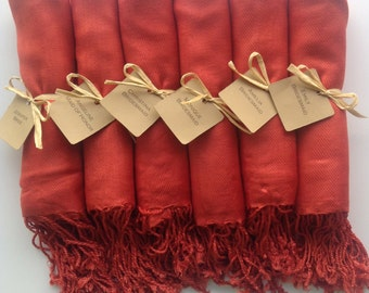 Set of 8 Burnt Orange Shawls with Favor Tags, Pashmina, Wedding Favor, Bridesmaids Gift, Wraps, Welcome Bags, Wedding Keepsakes