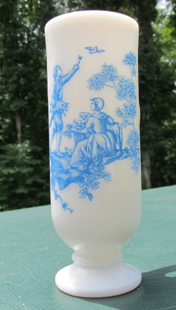 Items Similar To Blue Toile Milk Glass Demitasse Cup