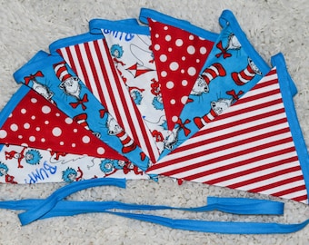 Dr. Seuss Inspired Cat in the Hat and Thing 1&Thing 2 Fabric Banner - Bunting