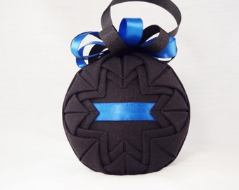 Thin Blue Line Quilted Fabric Ornament (Q140)