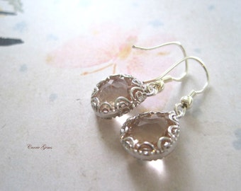 Pale Pink Earrings, Bridesmaid Gifts