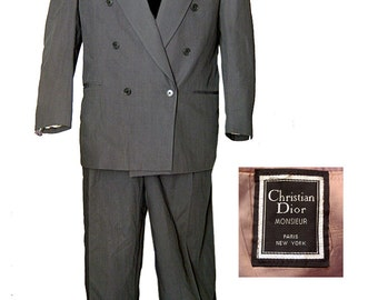 ON SALE!-Christian Dior Double Breasted Mens Suit / Swing Suit / Rockabilly Suit / Mad Men Suit