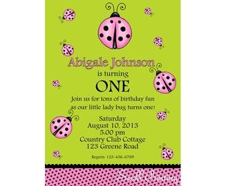 Pink & Green Ladybug Invitation, Ladybug Birthday Party Invitation Digital Invitation