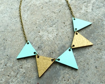 Pennant Wood Necklace // Mint and Gold Bunting Necklace // Reversible // Wood Neckace