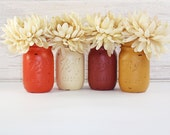4- Hand Painted Pint Mason Jar Flower Vases-Autumn Collection Two-Country Decor-Cottage Chic-Shabby Chic-French Chic
