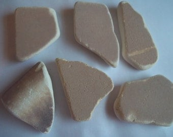 Scottish Sea Glass beach finds 6 brown coloured mixed sea pottery shards b16