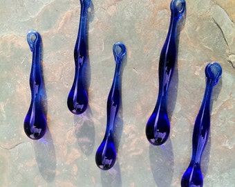 Cobalt Blue Glass Drip Ornaments 2-3 inch, set of 5, Lampwork