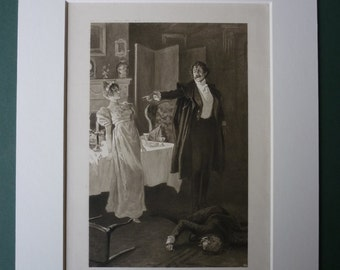 1940s Vintage Print From Vanity Fair By William Makepeace Thackery - English Literaturre - Old Victorian Novel - Book Illustration - Matted