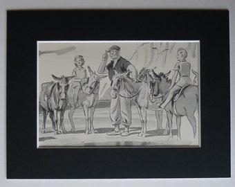 1950s Vintage Seaside Donkey Print - Childhood Memories - Retro Donkey Ride - Beach Art Print - Seaside Decor - Beach Decor - Donkey Gift
