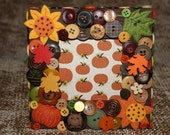 SALE - Fall Sunflower and Pumpkin Themed Button Picture Frame