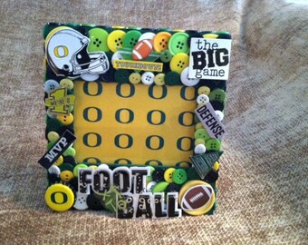 Oregon Ducks Football Themed Button Picture Frame
