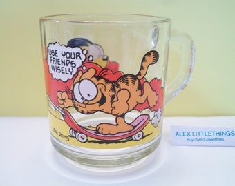 McDonad's Garfield glass mug cup Use Your Friends Wisely 1978
