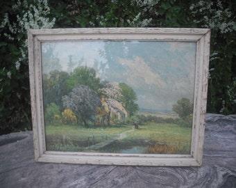 Vintage Framed Cottage Print / 14.25 X 18 / Vintage Chic Wall Decor