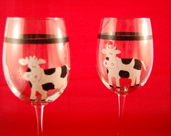 Whimsical Cows Wine Glasses
