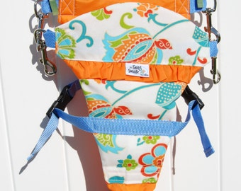 "ORANGE floral Swing Swaddle- A ""one size fits most"" child safety harness for safe swinging!"