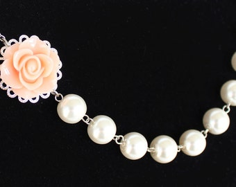 Peach bridesmaid necklace, bridesmaid gift, pearl necklace, wedding necklace, peach rose, junior bridesmaid gift, flower girl necklace