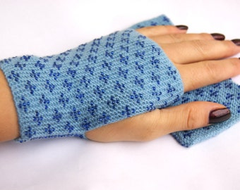 """Handmade beaded light blue Wrist warmers, cuffs, fingerless gloves with glossy dark blue beads""""In Clouds"""", ready to ship"""