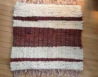 Natural & Maroon Striped Handwoven Wool Ru